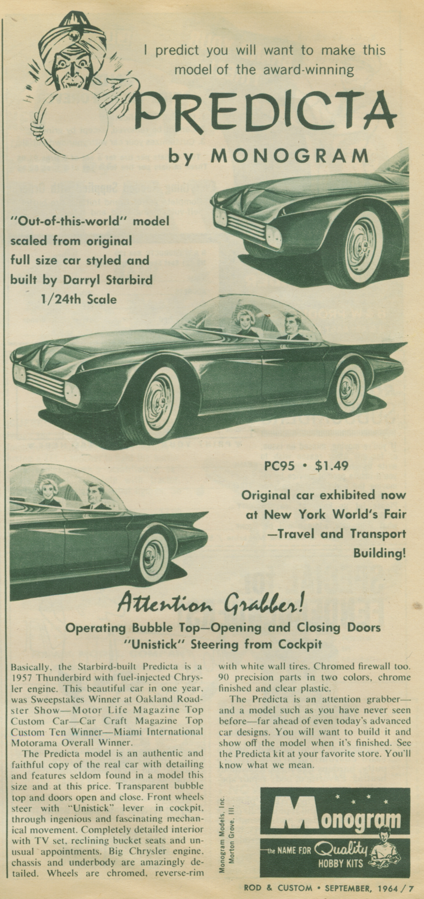 This popular advert will substitute an image of the enhanced model in place of the image printed in 1964.